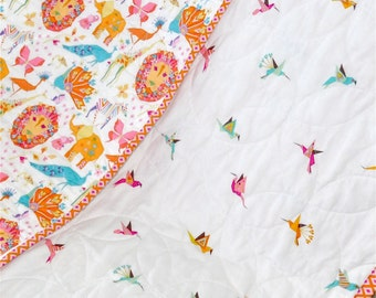 MADE TO ORDER Origami Oasis Modern Baby Quilt Baby Girl Blanket,Toddler Blanket, Jungle Animals, Geometric Origami Shapes, Animal Quilt