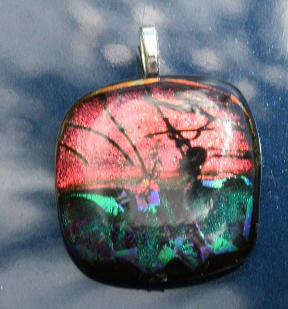KEYWEST SUNSET Dichroic  Fused Glass Pendant -- Art Glass By YM