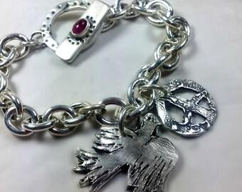 Silver Chain Link  bracelet ,Peace Charm Bracelet, rustic sterling and tourmaline Chain Bracelet,   silver chunky chain bracelet