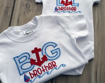 Personalized Nautical Sibling Outfits Boys ~ Big Brother Little Brother Matching Brother Outfits ~ Embroidered Anchor Baby Bodysuit