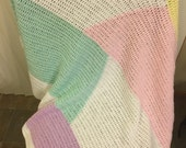 Baby Blanket Baby Afghan White and Pastel Colorblock