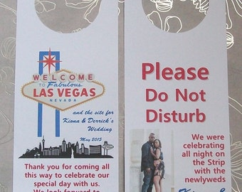 Hotel Door Hangers - LAS VEGAS - Double Sided for Out of Town Wedding Guests - Do Not Disturb - Destination Wedding