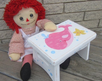 WHALE Girls Wood Step Stool - Original Hand Painted Primitive/Rustic - Baby Girl - Sturdy Solid Wood