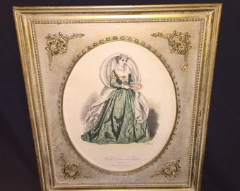 Noble Dame de Venise Hand Colored Etching in Gold Frame
