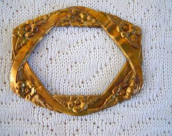 Vintage Brass Flower Floral Frame Stamping