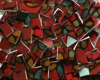 Mosaic Tiles- Crimson & Petal--100 pieces