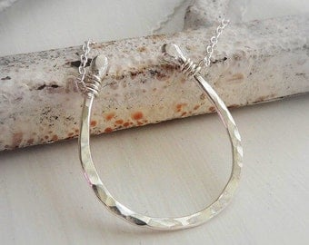 Sterling Horseshoe Necklace - bridesmaid jewelry, Gift for Her