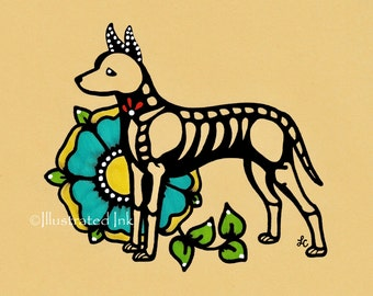 Day of the Dead Dog Xoloitzcuintli XOLO Dia de los Muertos Art Print 5 x 7, 8 x 10 or 11 x 14 - Choose your own words - Shelter Donation