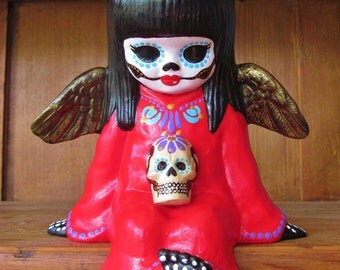 Day of the Dead ANGEL Shelf Sitter Skeleton with Sugar Skull Statue Figurine