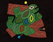 FROG SALE - Fabulous Folk Art Frog Series Mola # 3 - Hand Sewn Kuna Indian Applique