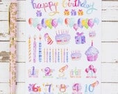 Happy Birthday Count Down Watercolor MATTE Sticker Sheet | For Kikki K, FiloFax or other Journals and  Planners