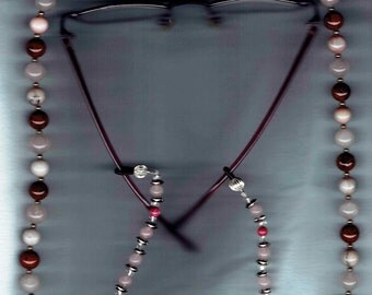 Burgundy and soft Pink Gemstone Necklace with Eyeglass Chain Add-ons Womens Eyeglass Holders Necklaces Glasses Chain Holder