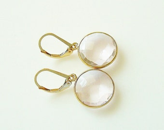 faceted round pink quartz and gold framed dangle earrings