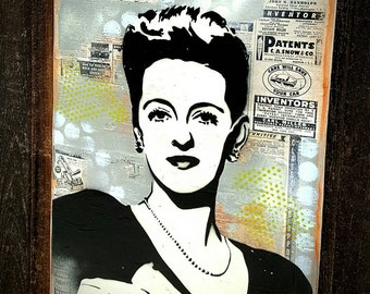 Bette Davis Original Graffiti Art Painting on Wood Panel Classic Hollywood Movie Star Icon RePurposed Ply Wood
