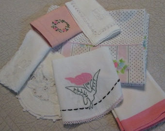 Vintage Linens Assortment - Eight Pieces Pink and White