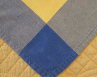 Six Large Vintage Napkins - Yellow and Blue Cotton Blend Napkins