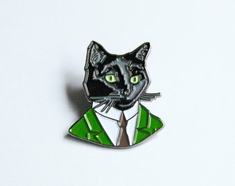 Enamel Pin - Black Cat Gentleman - Ryan Berkley Illustration - Pin