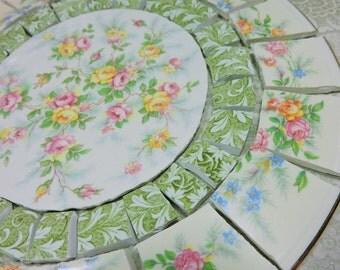 China Mosaic Tiles ~ LaRGE SHaBBY CHIC ARRaNGeMENT ~ Broken Plates Repurposed