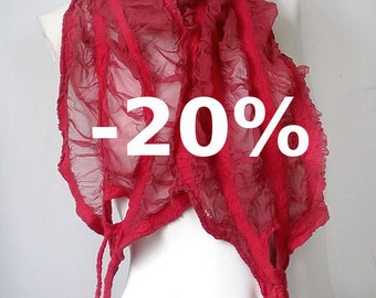 JANUARI SALE Red Nuno Felted Scarf - Summer Scarf