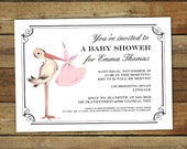 Stork baby shower invitation, baby girl or baby boy, custom colors, special delivery baby shower, printable shower invitation