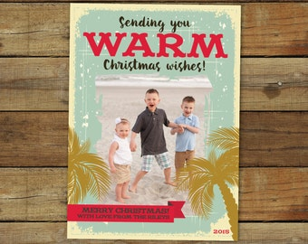 Family Vacation Christmas card - Palm Tree holiday card, Warm wishes Christmas card, photo holiday card, Beach Christmas card, Hawaii Card