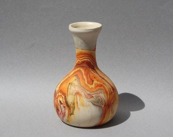 Nemadji Pottery Vase Orange Swirl Vintage Mission Style Art Pottery Indian River USA Unmarked