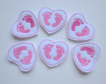 Pink Baby Feet Heart Felt Embroidered Embellishments - 328