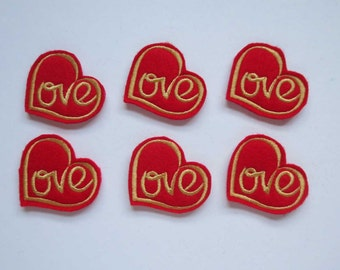 Love Heart Style 3 Red with Gold Embroidered Valentine Heart - 331