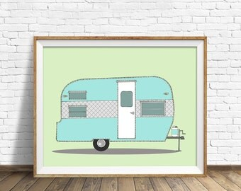 "vintage camper, camper trailer, drawing, mid century modern, large wall art, home decor, wall decor, wood art block - ""Frolic Camper, 1965"""