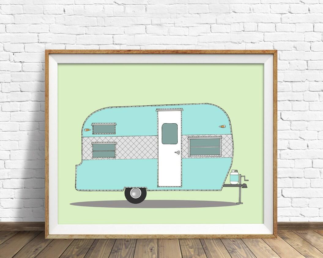 Vintage Camper Camper Trailer Drawing Mid Century