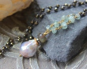 Baroque Pearl Necklace with aquamarine and pyrite, Aquamarine Necklace , Baroque Pearl pendant, Christmas gift for her, wrapped,  Bohemian