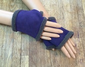 Fur Gloves in Purple warm and cosy !!!