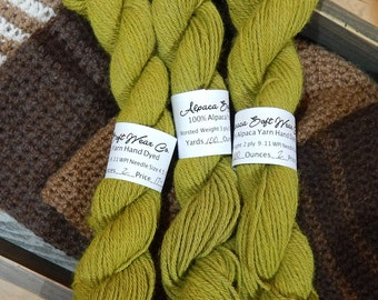 Alpaca Yarn Worsted Weight Hand Dyed Chartreruse Soft