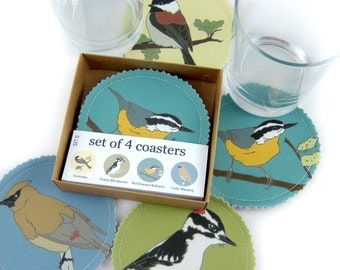 Wild Bird Fabric Coaster Set--Woodland Birds