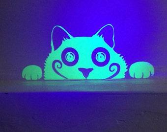 Glow-in-the-Dark Wall Vinyl Voyeur Cat Decal