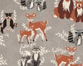 Oh, Hello Fog - Hello Bear - Art Gallery Fabrics - Bonnie Christine - HBR-4430 - Deer Raccoon Fox - Quilting Cotton Gray