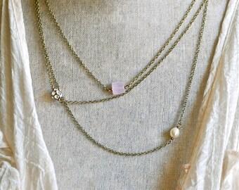 Romantic gemstone layering necklace,asymmetrical,romantic,bridal wedding necklace. Tiedupmemories