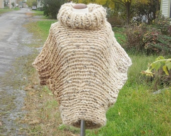 Poncho sweater, cowl neck, chunky knit poncho,slouchy cover up, handknit wrap, beige cream ombre, boho top, women extra small, small, medium