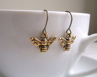 Petite Gold Bee charm earrings - little bees - gift for gardener - nickle free