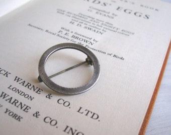Petite Circle Silver Brooch - vintage 1950s circle pin - sterling silver - minimalist