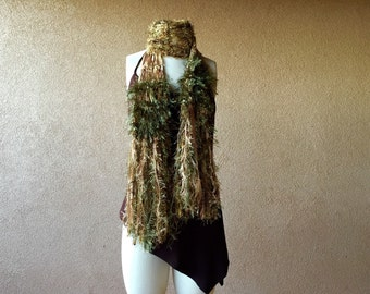 Boho Gypsy Scarf Amber Golden Burnt Orange and Green Scarf Gift for Nature Lover Fringe Scarf Accessories