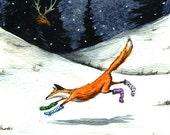 Fox in Socks - signed 8 x 10 watercolor print