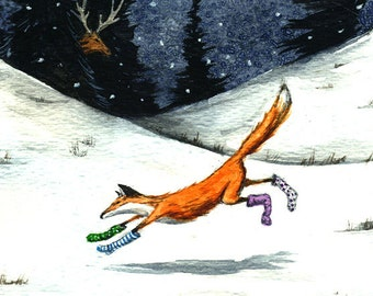 Fox in Socks - signed 8 x 10 watercolor print