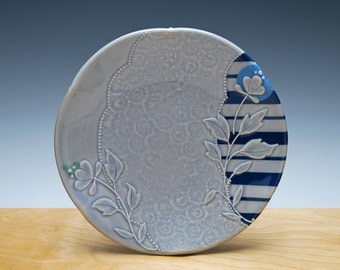 Medium Periwinkle plate w.  Floral and Navy stripes & sky blue polka dot, Serving / dinnerware / lunch plate