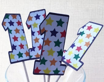 Purple Star First Birthday Cupcake Topper/Party Picks - Set of 12 - SALE