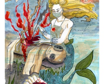 Mermaid Coroner matte print