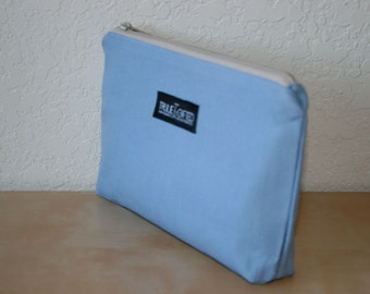 Light Blue Canvas Cosmetic Bag - On Sale