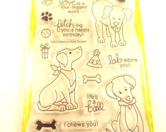 Fetching Friendship Stamp Set, Newton's Nook Designs, Dog Stamp Set, Labrador Stamps, Love is a Four-Legged Word, I Chews You, Animal Stamps