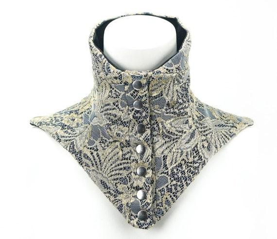 Metallic Gold Lace Neck Corset Neck Collar