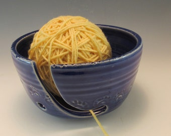 Handmade Pottery Yarn Bowl in Royal Blue/Knitting Bowl/Yarn Organizer